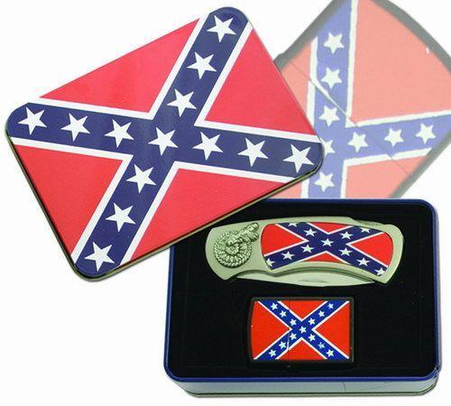 # RCBWCHFK117MFLTS Confederate Flag Pocketknife and Lighter Set