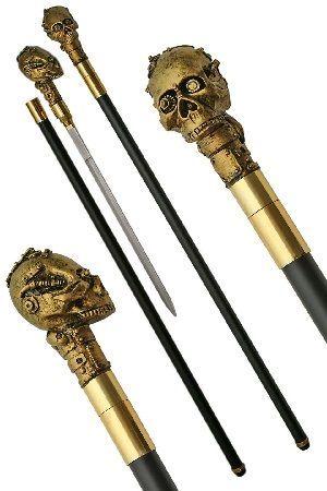 Brass Skull Sword Cane
