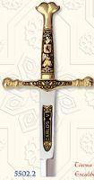 # 5502.2 Damascene Charles V Sword Letter Opener by Marto of Toledo Spain