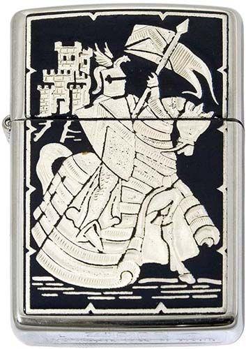 # 840005 Damascene Crusader Knight Zippo Lighter by Marto of Toledo Spain