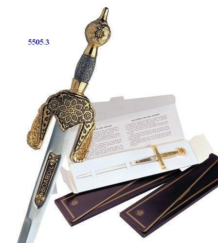 # 5505.3 Damascene Boabdil Sword Letter Opener by Marto of Toledo Spain