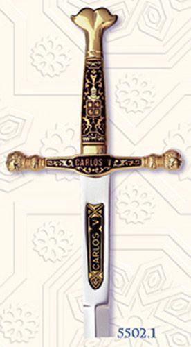 # 5502.1 Damascene Charles V Sword Letter Opener by Marto of Toledo Spain