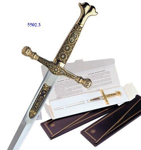 # 5502.3 Damascene Charles V Sword Letter Opener by Marto of Toledo Spain