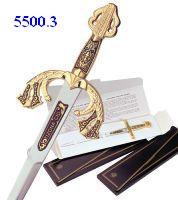 # 5500.3 Damascene El Cid Tizona Sword Letter Opener by Marto of Toledo Spain