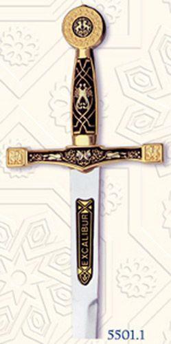 # 5501.1 Damascene Excalibur Sword Letter Opener by Marto of Toledo Spain