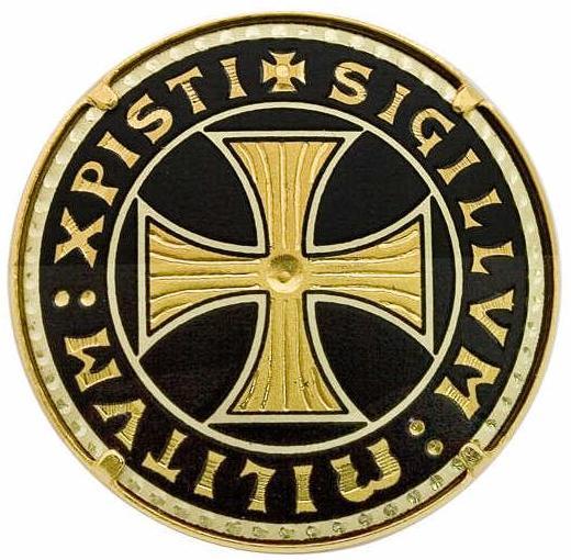 # 8450 Damascene Templar Cross Brooch by Marto of Toledo Spain