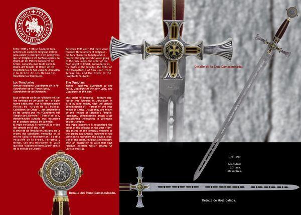 # 597 Damascened Templar Knight Sword by Marto of Toledo Spain