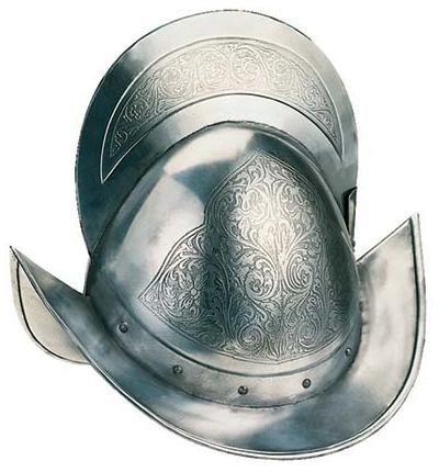 # 921 Engraved Spanish Round Morion Helmet by Marto of Toledo Spain