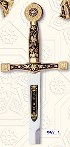# 5501.2 Damascene Excalibur Sword Letter Opener by Marto of Toledo Spain