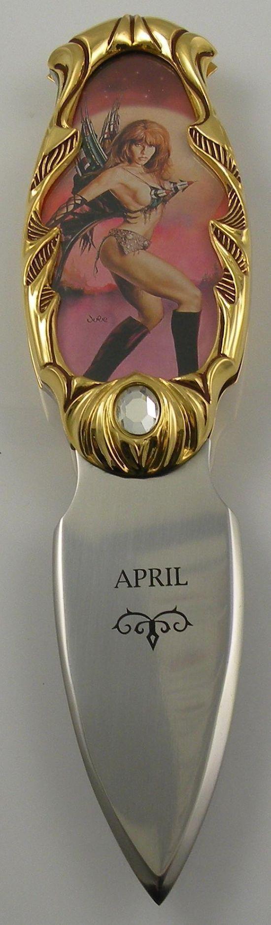 # RCFMAprilTS Franklin Mint April Calendar Girl Pocketknife
