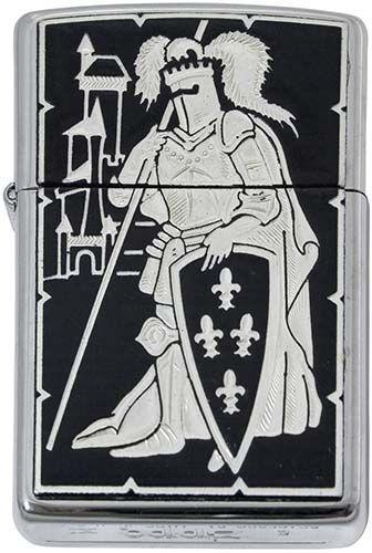 # 840006 Damascene French Knight Zippo Lighter by Marto of Toledo Spain