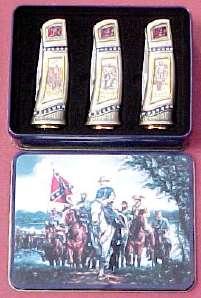 # RCGRCK2153TTS Set of 3 Confederate General Collector Pocket Knives