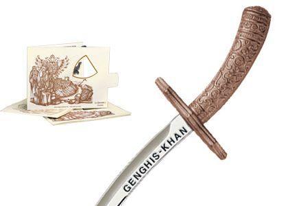 # 5209.3 Miniature Genghis Khan Sword by Marto of Toledo Spain - Bronze