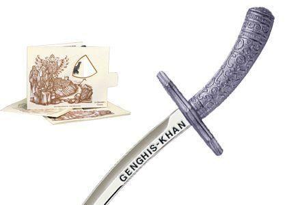 # 5209.2 Miniature Genghis Khan Sword by Marto of Toledo Spain - Silver