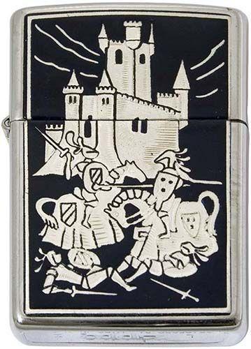 # 840001 Damascene Medieval Battle Zippo Lighter by Marto of Toledo Spain