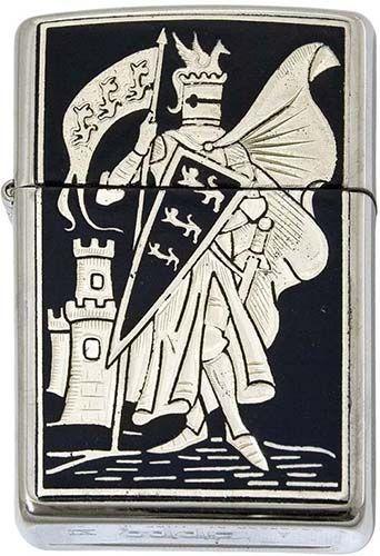 # 840004 Damascene Medieval Knight Zippo Lighter by Marto of Toledo Spain