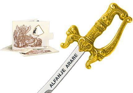 # 5210.1 Miniature Arabian Scimitar Cutlass by Marto of Toledo Spain - Gold