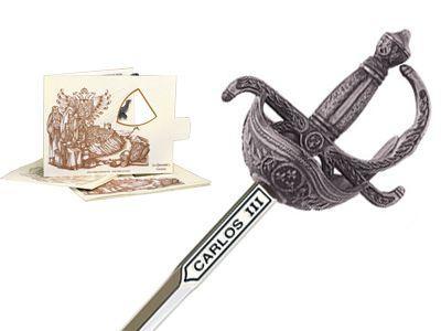 # 5225.2 Miniature Charles III Rapier Sword by Marto of Toledo Spain - Silver