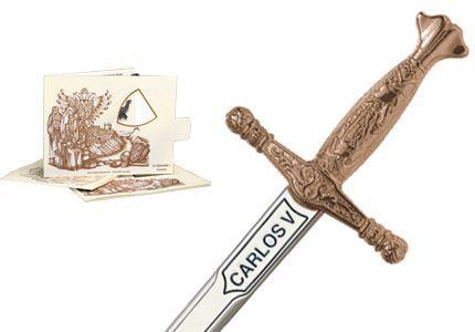 # 5206.3 Miniature Charles V Sword by Marto of Toledo Spain - Bronze