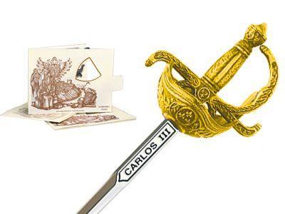 # 5225.1 Miniature Charles III Rapier Sword by Marto of Toledo Spain - Gold