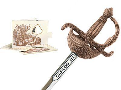 # 5225.3 Miniature Charles III Rapier Sword by Marto of Toledo Spain - Bronze