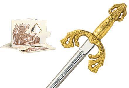 # 5204.1 Miniature El Cid Campeador Tizona Sword by Marto of Toledo Spain - Gold