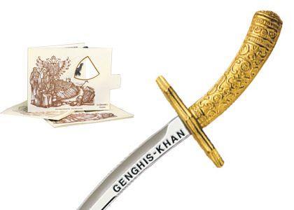 # 5209.1 Miniature Genghis Khan Sword by Marto of Toledo Spain - Gold