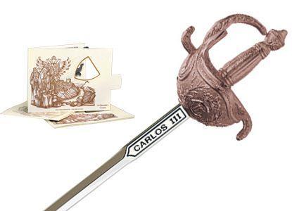 # 5217.3 Miniature King Charles III Rapier Sword by Marto of Toledo Spain - Bronze
