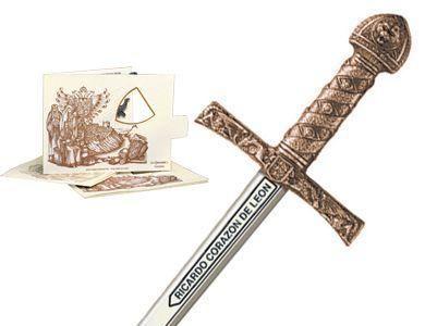 # 5218.3 Miniature King Richard the Lionheart Sword by Marto of Toledo Spain - Bronze