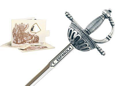 # 5216.2 Miniature Spanish Tizona Cup Hilt Rapier Sword by Marto of Toledo Spain - Silver