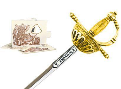 # 5216.1 Miniature Spanish Tizona Cup Hilt Rapier Sword by Marto of Toledo Spain - Gold