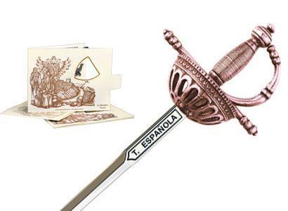 # 5216.3 Miniature Spanish Tizona Cup Hilt Rapier Sword by Marto of Toledo Spain - Bronze
