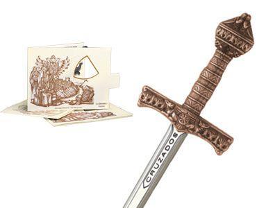# 5222.3 Miniature Crusader Sword by Marto of Toledo Spain - Bronze