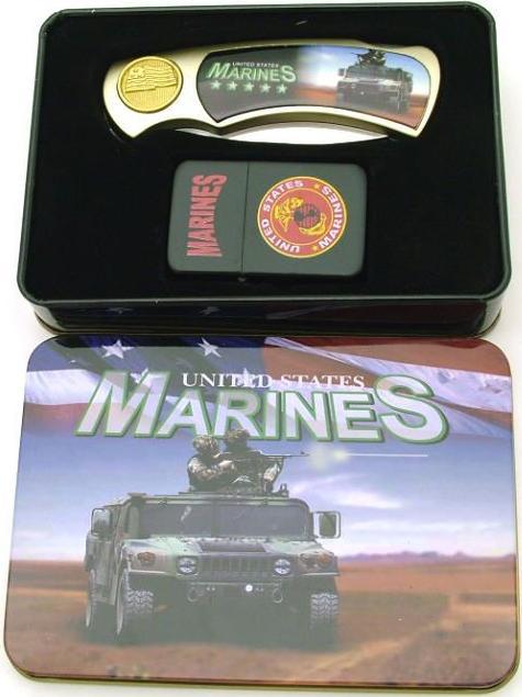 # RCPAPK4604US4LTTS U.S. Marine Corps Pocket Knife and Lighter Collector Set