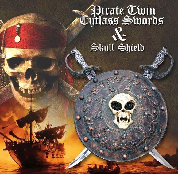 # RCPAWK036TS Caribbean Pirates Twin Cutlass Swords With Skull Shield