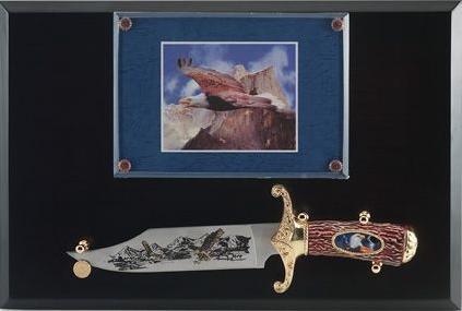 # RCMXSKEAGLETS Eagle Bowie Knife on Display Plaque