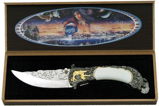 # RCSZ210322TS Fancy Indian Dreamer Scene Collectable Pocket Knife Folder