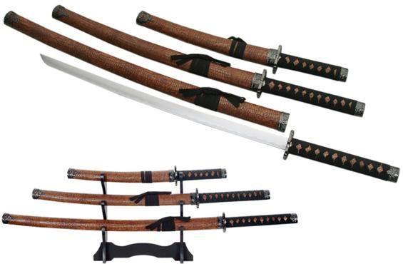 # RCSZ926749BRTS Brown Leather Samurai Swords Set