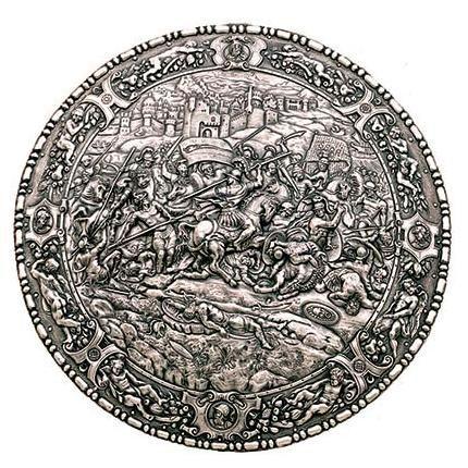 # 8980 Spanish Round Shield 16th Century Philip II by Marto of Toledo Spain