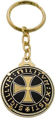 # 8307 Damascene Templar Cross Keychain by Marto of Toledo Spain