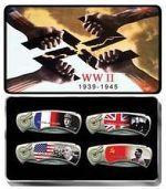 # RCWUYCPK202WW2T4TS World War II 4 Piece Collector Pocket Knife Set