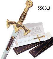 # 5503.3 Damascene Templar Knight Sword Letter Opener by Marto of Toledo Spain